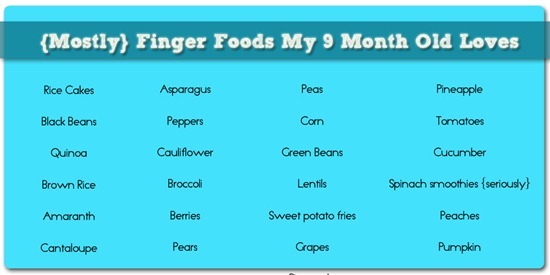Finger Foods for 9 months