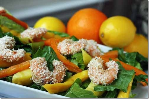 Grilled Fruit Coconut Shrimp Salad with Citrus Wit Bier Dressing