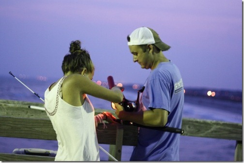 night pier fishing